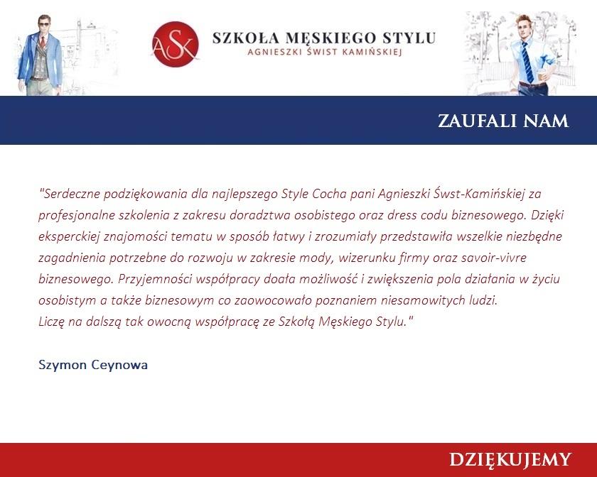 Podziękowania Szymon Ceynowa